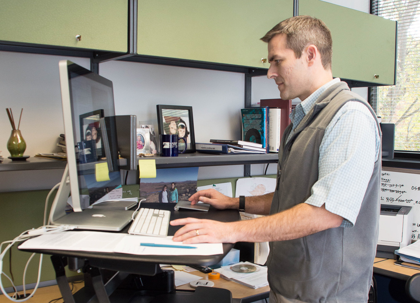 Oklahoma Medical Research Foundation Scientist Tim Griffin, Ph.D. Using His  Standing Desk.
