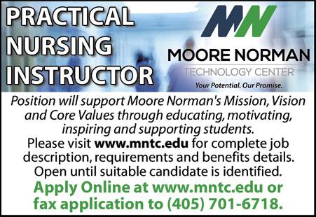 8eb99bdc3 Moore Norman Technology Center seeking PRACTICAL NURSING INSTRUCTOR